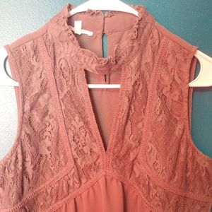 Taupe lace tank